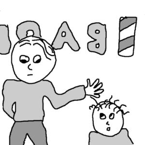 The barber -- Illustration by Börkur Sigurbjörnsson