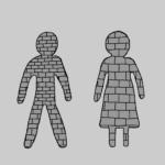 Brick and mortar human beings - Illustration by Börkur Sigurbjörnsson